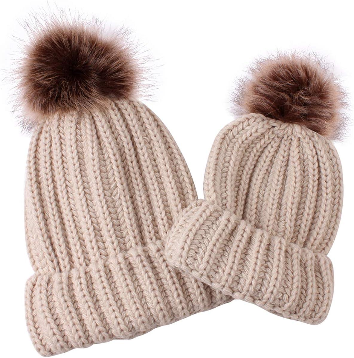2PCS Men Womens Kids Baby Winter Warm Knit Crochet Slouch Beanie Hat Ski Cap Set