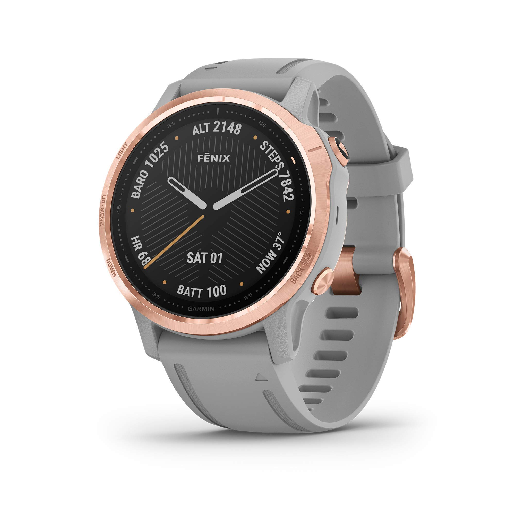 Garmin Fenix 6S Sapphire, Premium Multisport GPS Watch, Smaller-Sized, features Mapping, Music, Grade-Adjusted Pace Guidance and Pulse Ox Sensors, Rose Gold with Gray Band (Renewed) by Garmin