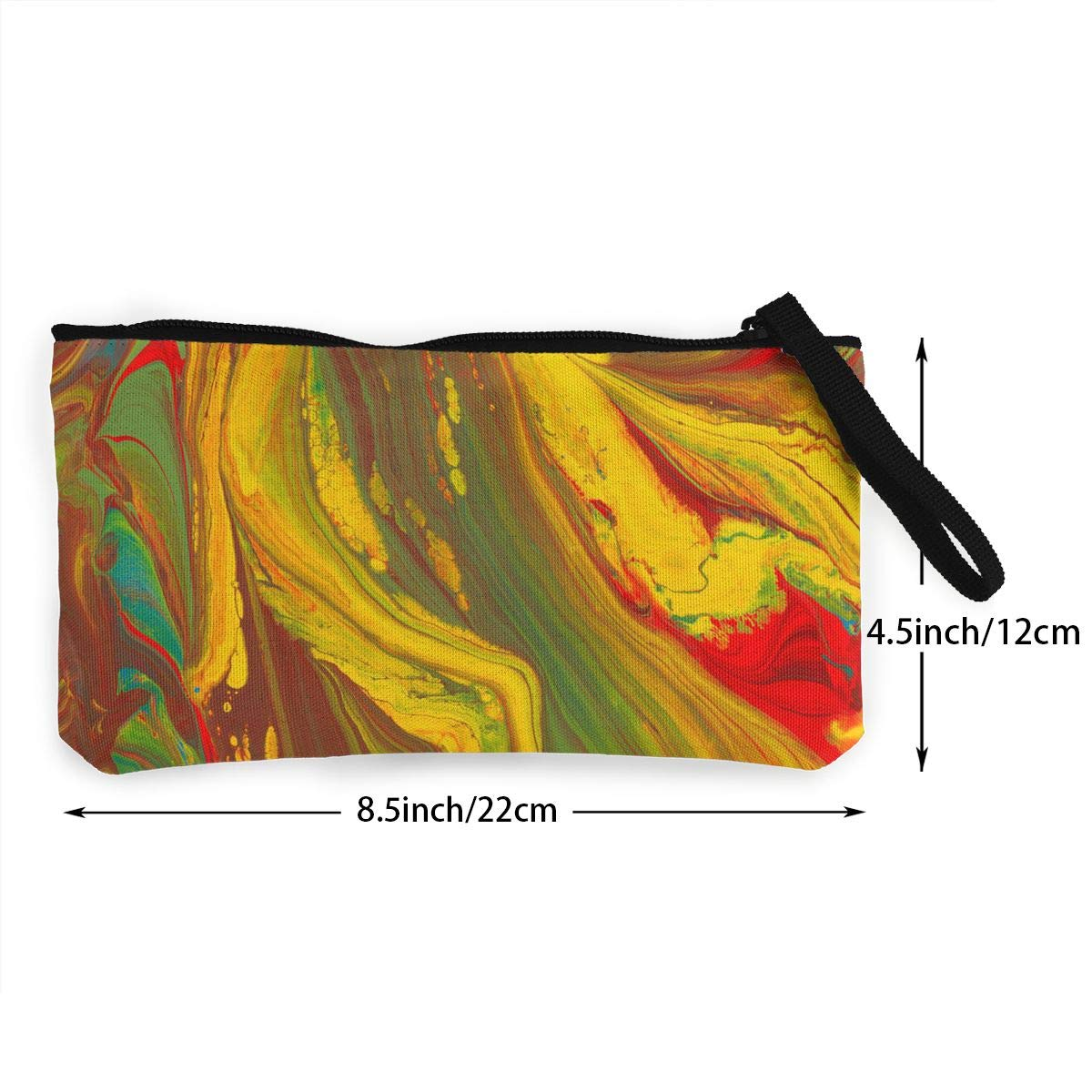 Canvas Cash Coin Purse,Colorful Art Print Make Up Bag Zipper Small Purse Wallets