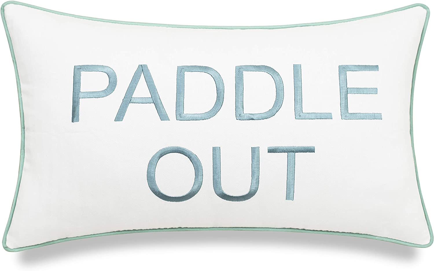 """DecorHouzz Embroidered Beach Inspired Pillowcase Paddle Out Surf Decor Beach House Coastal Living Surfer Gift Ocean Lover California Style (Paddle Out (Ivory), 12""""x20"""")"""