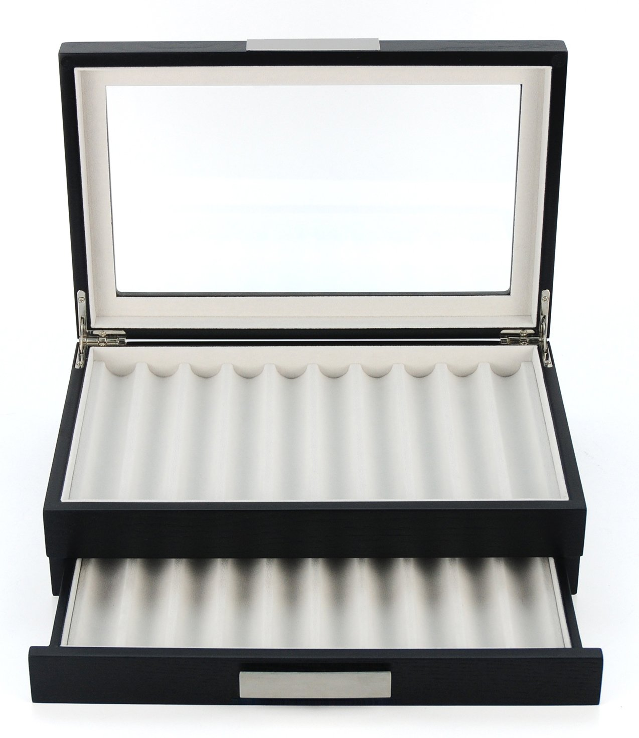 20 Piece Black Ebony Wood Pen Display Case Storage and Fountain Pen Collector Organizer Box with Glass Window Two Level Display Case with Drawer