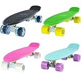 LAND SURFER® Retro Cruiser 56cm Deck Complete Skateboard - ABEC-7 Bearings - 59mm PU Coloured or Transparent Wheels + Carry Bag