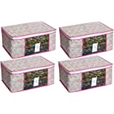HomeStrap Pack of 4 Non Woven Floral Saree/Clothes Cover with Window - Pink