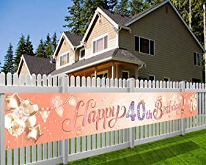 HOWAF Super Large Happy 40th Birthday Banner for Women 40th Birthday Party Decoration Rose Gold, Women 40th Birthday Photo Booth Backdrop Background Banner for Garden Table Wall Decoration, 9*1.2 Feet