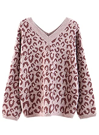 75281b976433 futurino Women's Sexy V-Neck Knitted Leopard Print Jumper Long Sleeve  Fluffy Fuzzy Sweater at Amazon Women's Clothing store: