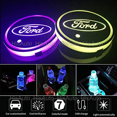 ANAISI 2pcs LED Car Cup Holder Lights for Ford, 7 Colors Changing USB Charging Mat Luminescent Cup Pad, LED Interior Atmosphere Lamp (Ford): Automotive