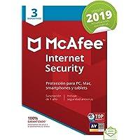 McAfee Internet Security 2019 - Antivirus, PC/Mac/Android/Smartphones, 3 Dispositivos, Suscripción de 1 año