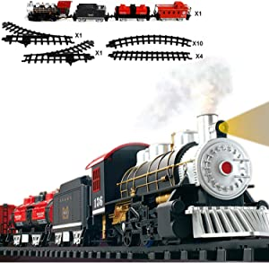 FULiYEAR Toy Train Set, Classical Battery Powered Train Set Steam Smoking Simulation Sound Train for Kids