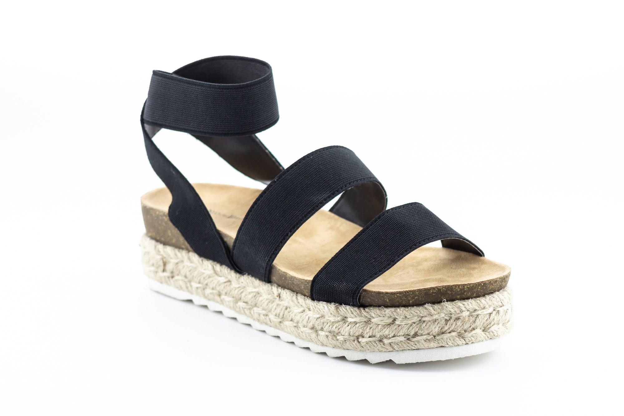 CALICO KIKI KACIE-CK02 Women's Ankle Strap Platform Sandals Fashion Open Toe Stretchy (8.5 US Black)