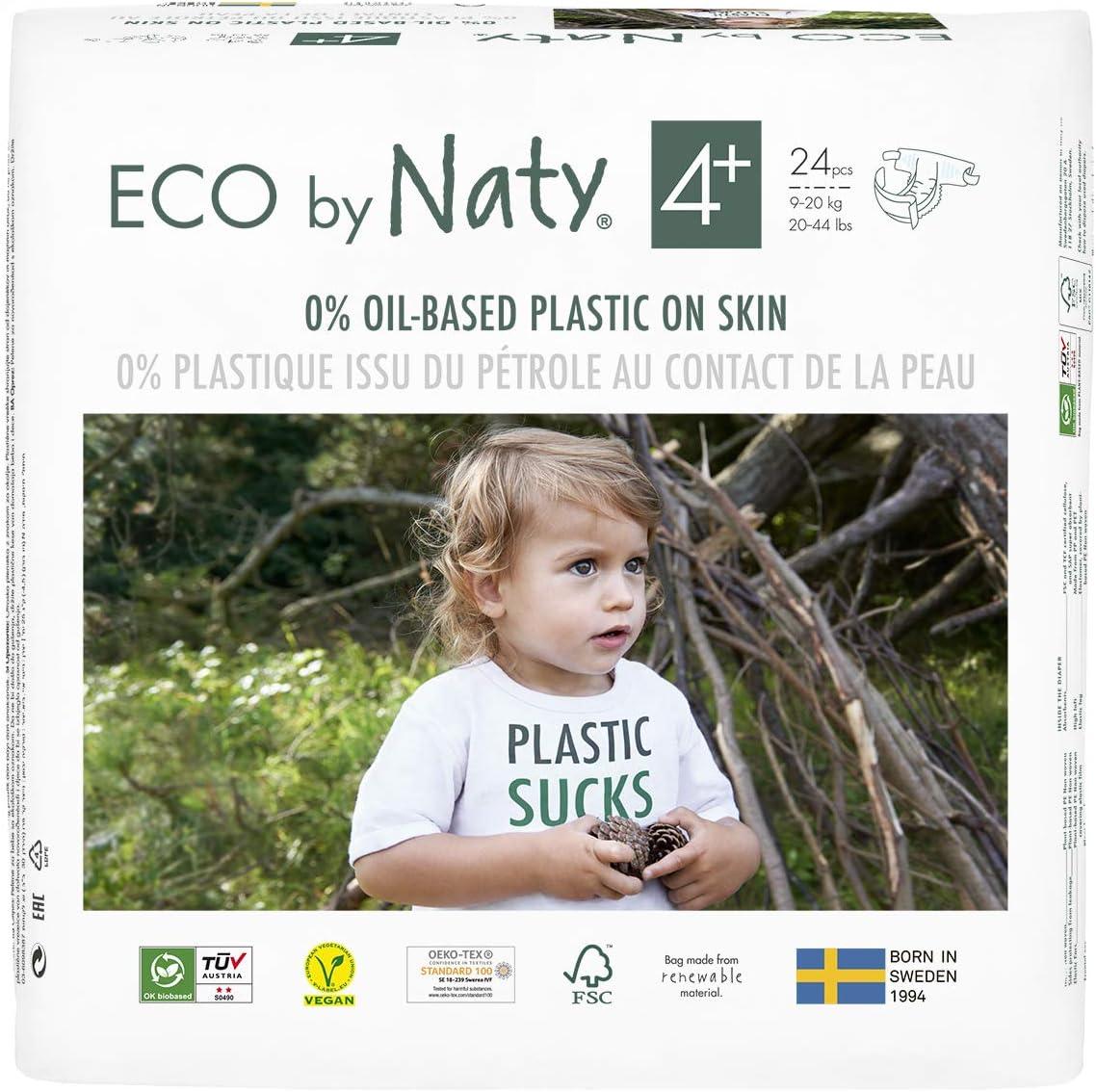 Eco by Naty Pañales, Talla/Tamaño 4+,144 unidades, 9-20 kg, suministro para UN MES, Pañal ecológico Premium a base de fibras vegetales.0% plásticos derivados del petróleo en contacto con la piel