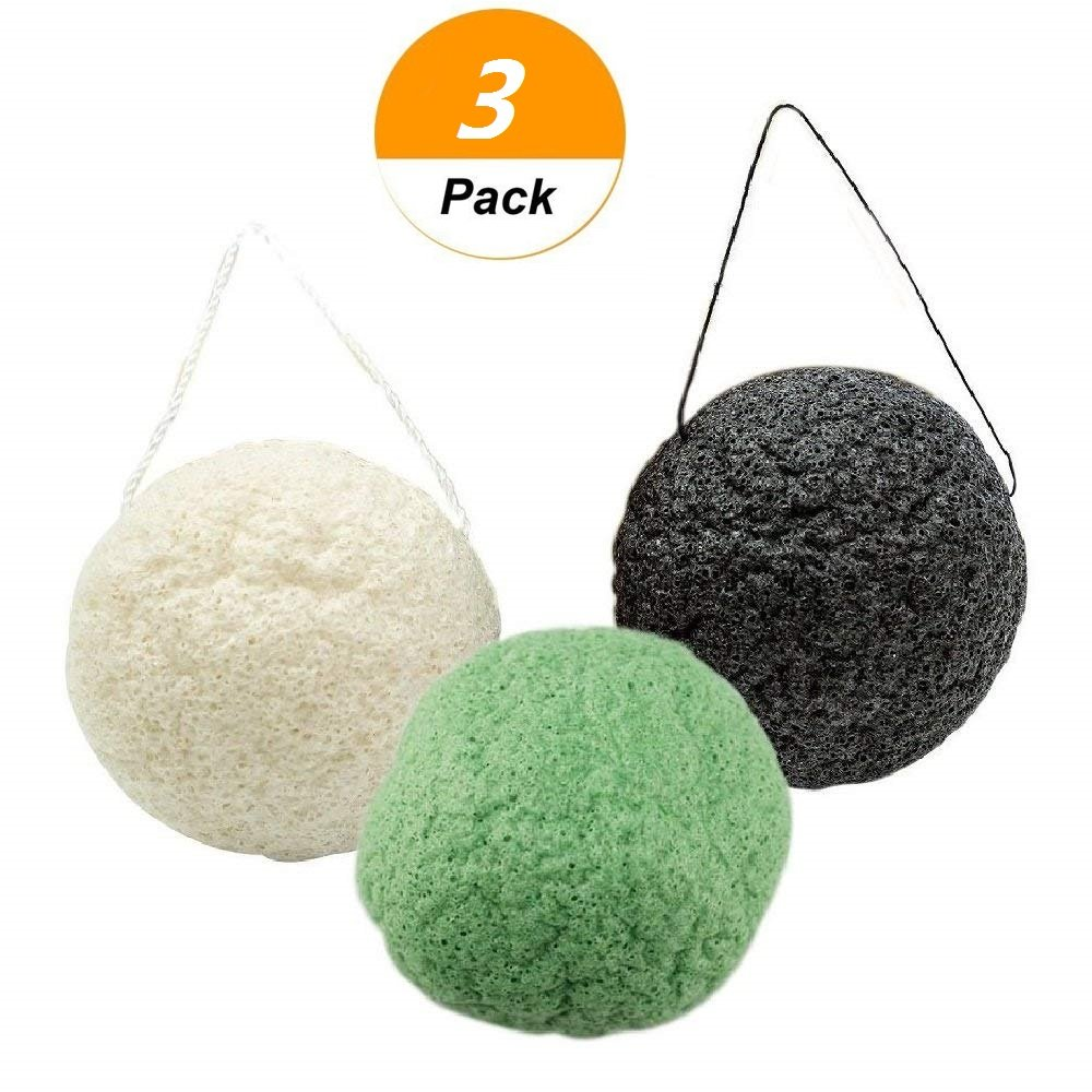 selftek Lot de 3Naturel Thé Vert et Gris Anthracite profond des pores et Exfoliant Nettoyant Visage Beauty Éponges