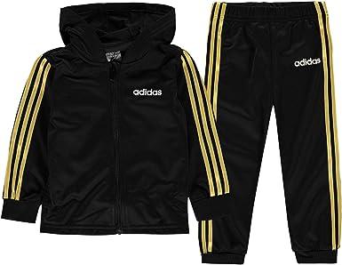 ensayo Ejercicio Escuela de posgrado  adidas Kids Boys 3 Stripe HD Poly Tracksuit Infant Long Sleeve Hooded Zip  Black/Gold 2-3 Yrs: Amazon.co.uk: Clothing