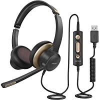 Mpow HC6 USB Headset with Microphone, Comfort-fit Office Computer Headphone, On-Ear 3.5mm Jack Call Center Headset for…