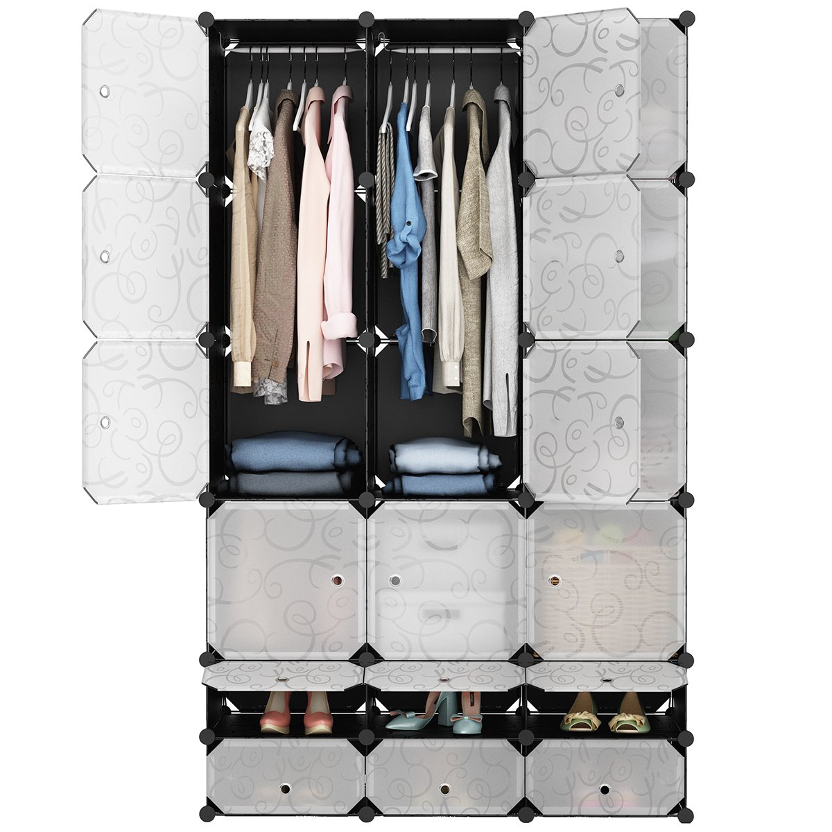 LANGRIA 18-Cube DIY Modular Shelving Storage Organizer Extra Large Wardrobe with Clothes Rod, Furniture for Shoes Clothes (Patterned Black)