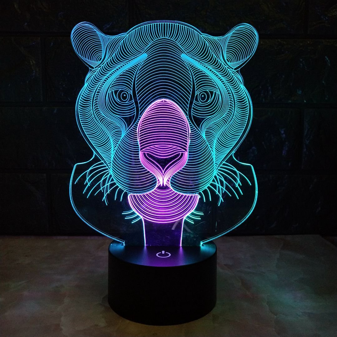 3D Lamp LED Night Light Tiger Animal Lamp Table Lamp Optical Touch Transform 7 Color Lights Birthday Gift Lights Business Gift Lights (Tiger)