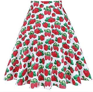 HEHEAB Falda Falda Dividida Flores Impresas Florales Faldas Midi Verano Womens Vintage Retro De Cintura Alta S-XXL Una Línea Falda Plisada