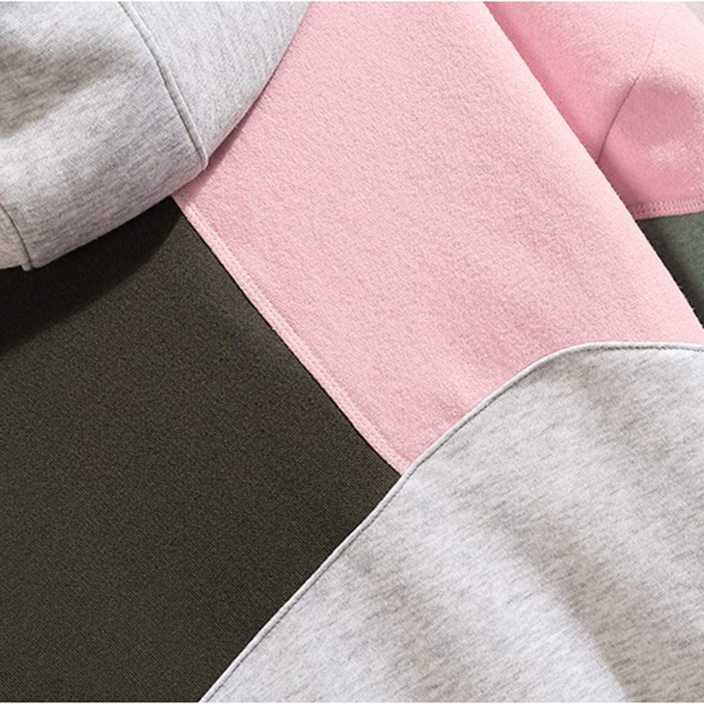 Fashion Men Casual Solid Color Patchwork Long Sleeve Hooded Drawstring Sweatshirt Tops with Pocket
