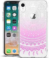 Girlscases® | iPhone XR Hülle Indische Sonne Schutzhülle aus Silikon mit Indische Sonne Aufdruck/Motiv Glänzend | Farbe: Rosa/Pink