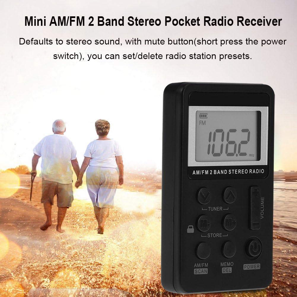 Socobeta Am FM Pocket Radio Mini Radio de Bolsillo est/éreo de 2 Bandas con Pantalla LCD Bater/ía Recargable y Auriculares para Caminar al Aire Libre