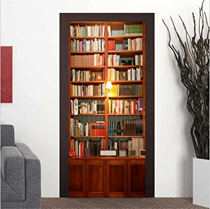 SENGE Bookshelf Door Wall Murals Door Murals Door Decals Door Wall Sticker Bookcase  Door Wall Stickers