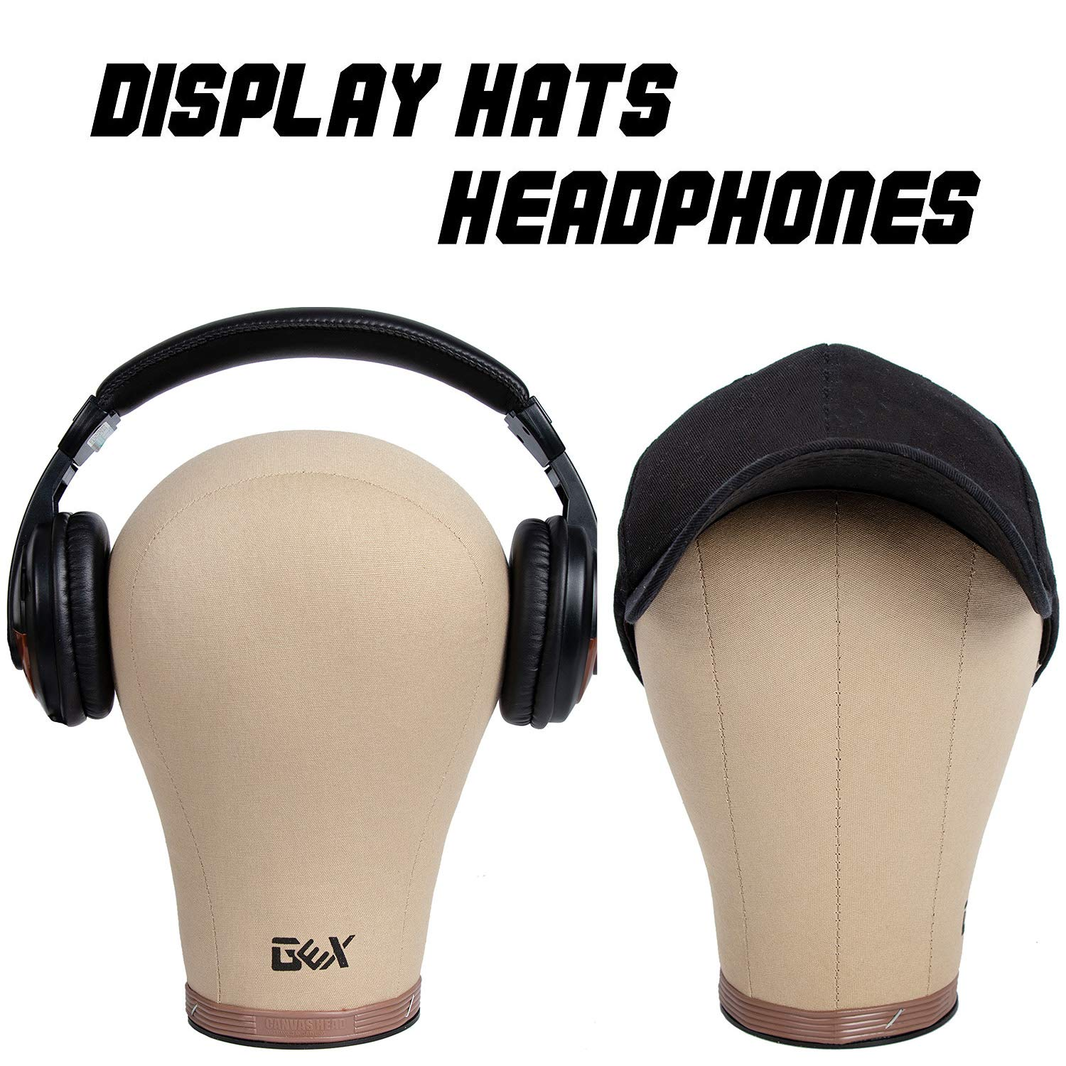 GEX 20''-24'' Cork Canvas Block Head Mannequin Head Wig Display Styling Head With Mount Hole 22'' by gexworldwide (Image #5)