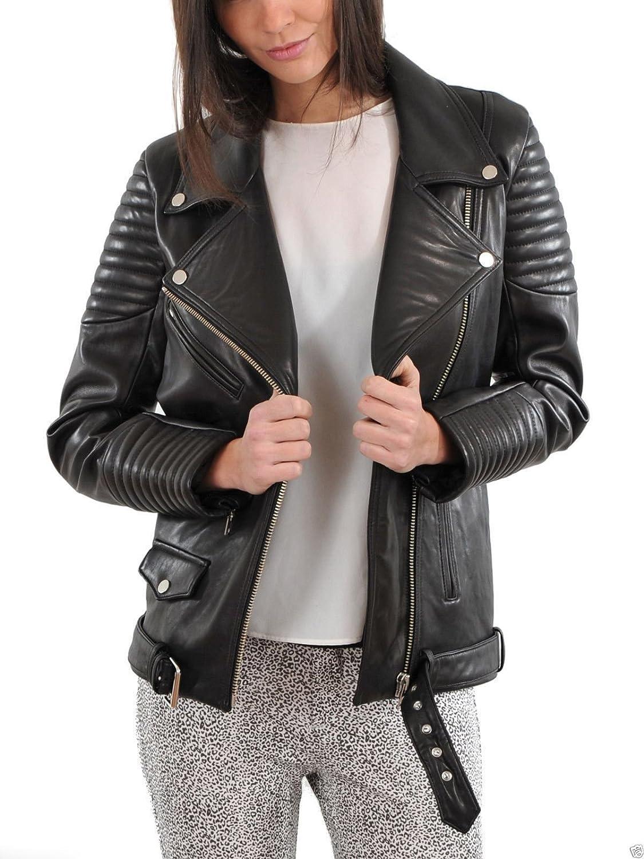 Aries Leathers Women New Biker Real Lambskin Leather Jacket WJ06