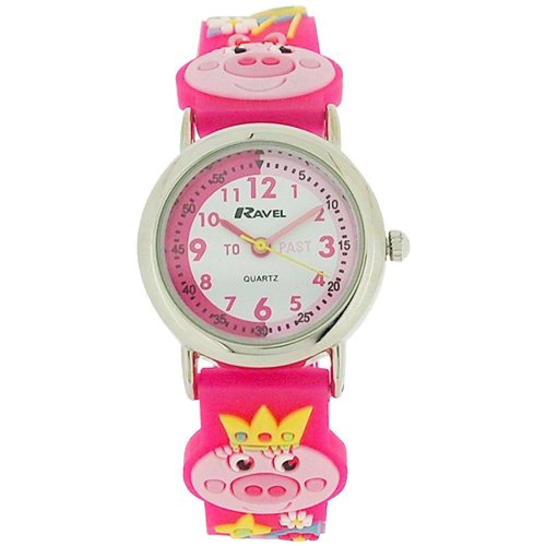 ravel girls kids 3d little miss piggy時間先生ホワイトダイヤル腕時計