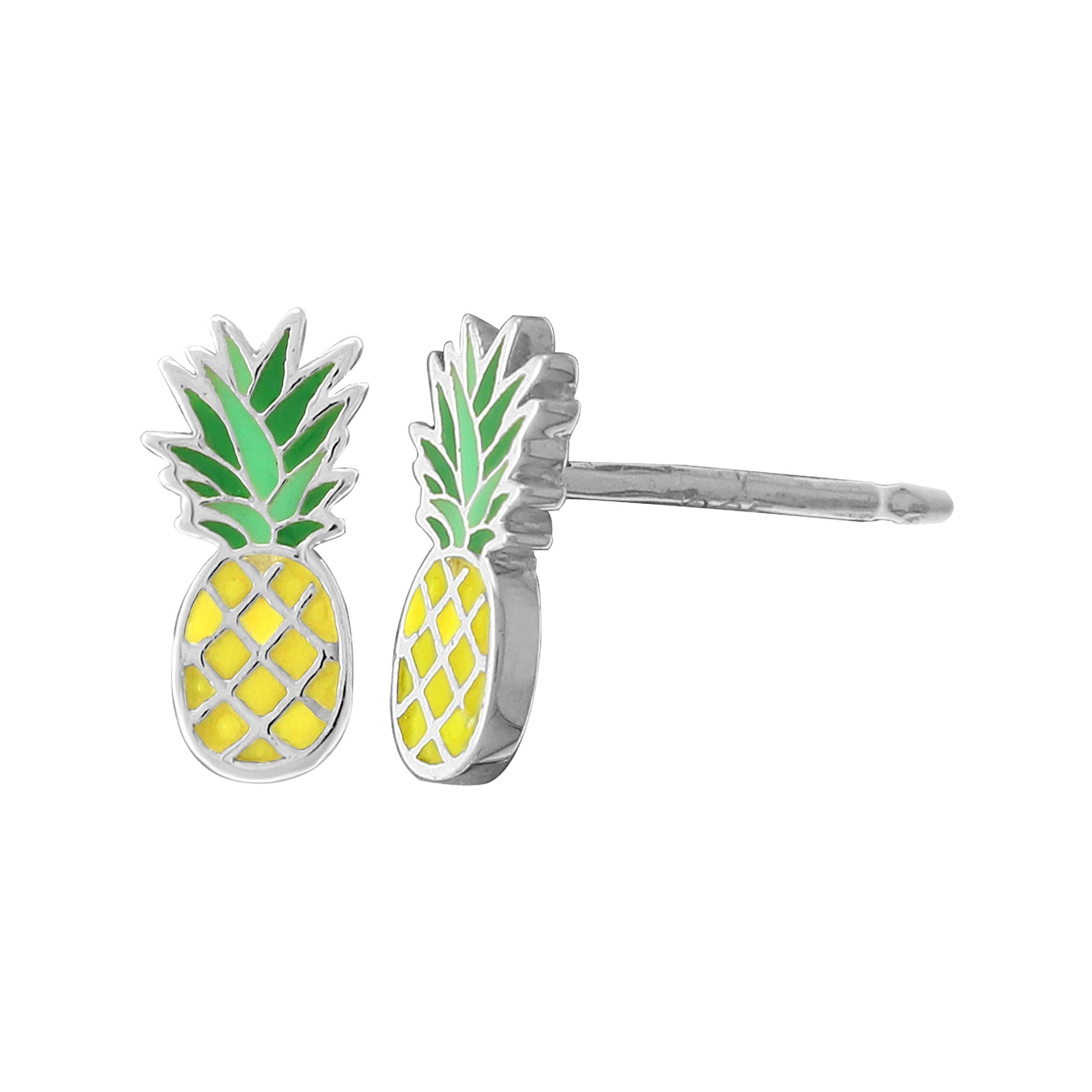 Boma Jewelry Sterling Silver Yellow & Green Resin Pineapple Stud Earrings