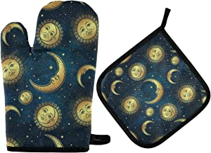 DOMIKING Oven Mitts Pot Holders Sets - Moon Sun Stars Cooking Gloves Heat Resistant Hot Pads Non-Slip Potholders for Kitchen Grilling BBQ Cooking