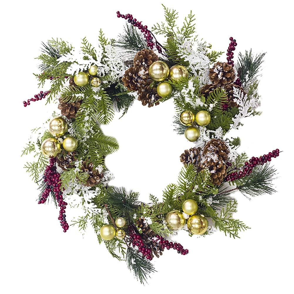 Quietcloud Christmas Garland Wreath Door Ball Pine Cone Hanging Ornament Festival Party Decor Golden