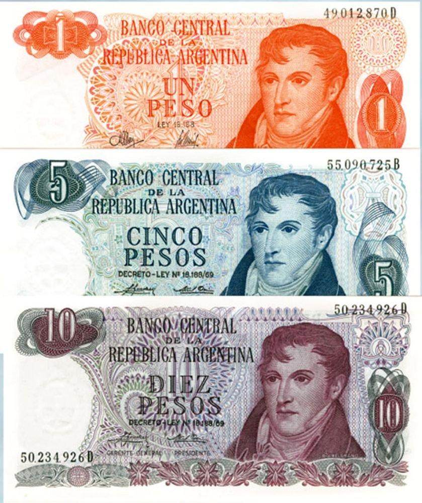 AR 1970 SET OF 5 LOVELY LG ARGENTINA BANKNOTES w PORTRAITS//FAMOUS SITES /& SCENES Gem Crisp Uncirculated