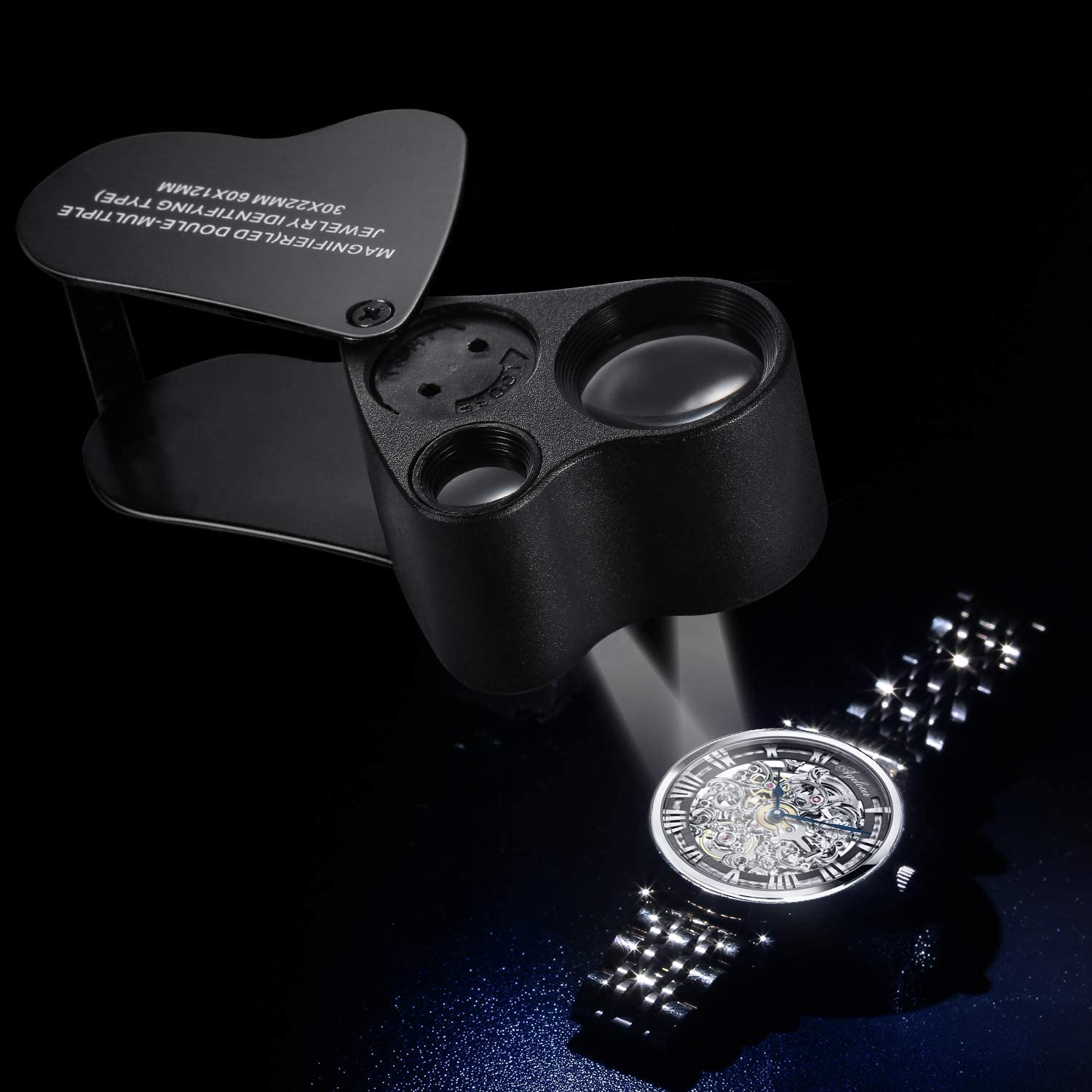 Jiusion Black Portable Lighted LED Illuminated Jewelry Magnifier 30X 60X Wearable Handheld Dual Lens Eye Loupe Magnifying Glasses Micro Microscope with Keychain and Lanyard
