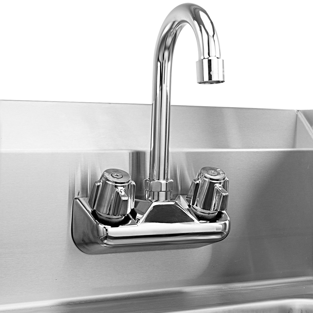Giantex Stainless Steel Hand Washing Sink with Wall Mount Faucet & Side Splashes NSF Commercial Kitchen Heavy Duty Hot & Cold Temperature Water Inlet Washing Basin, Silver by Giantex (Image #4)