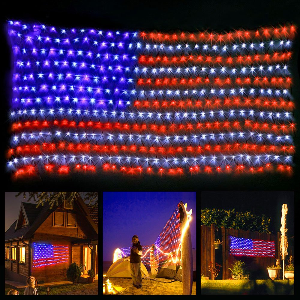 xtf2015 Led Flag Net Lights of The United States, Waterproof American Flag Light For Festival, Holiday, Independence Day, 4th of July, Memorial Day, Decoration, Garden, Yard, Fence, Indoor And Outdoor