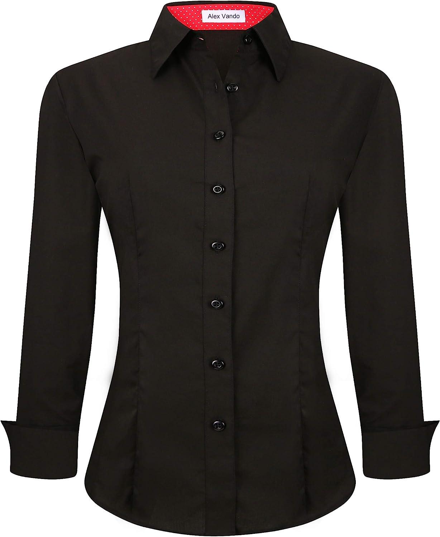 Alex Vando Womens Dress Shirts Regular Fit Long Sleeve Stretch Work Shirt