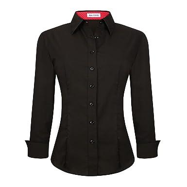 70b1710809a6 Alex Vando Womens Dress Shirts Regular Fit Long Sleeve Cotton Stretch Work  Shirt,Black,