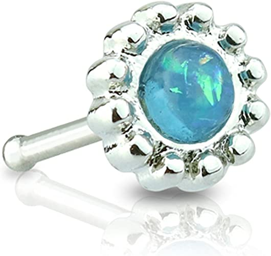 316L Surgical Steel Nose Stud Bone  Aurora Borealis Centered Crystal Daisy Top