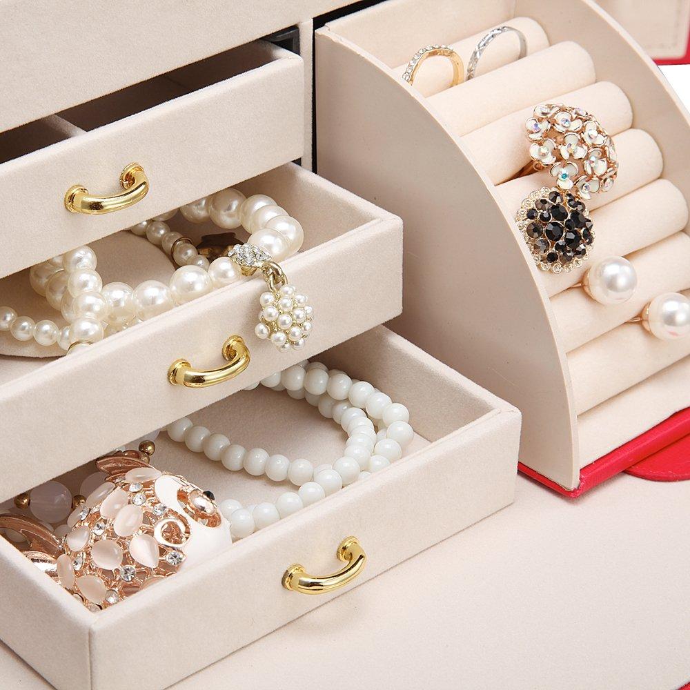Vintage Gift Case Small Travel Earrings//Rings Box on Top Vlando Lockable Jewelry Box Organizers w//Key Black//With Key