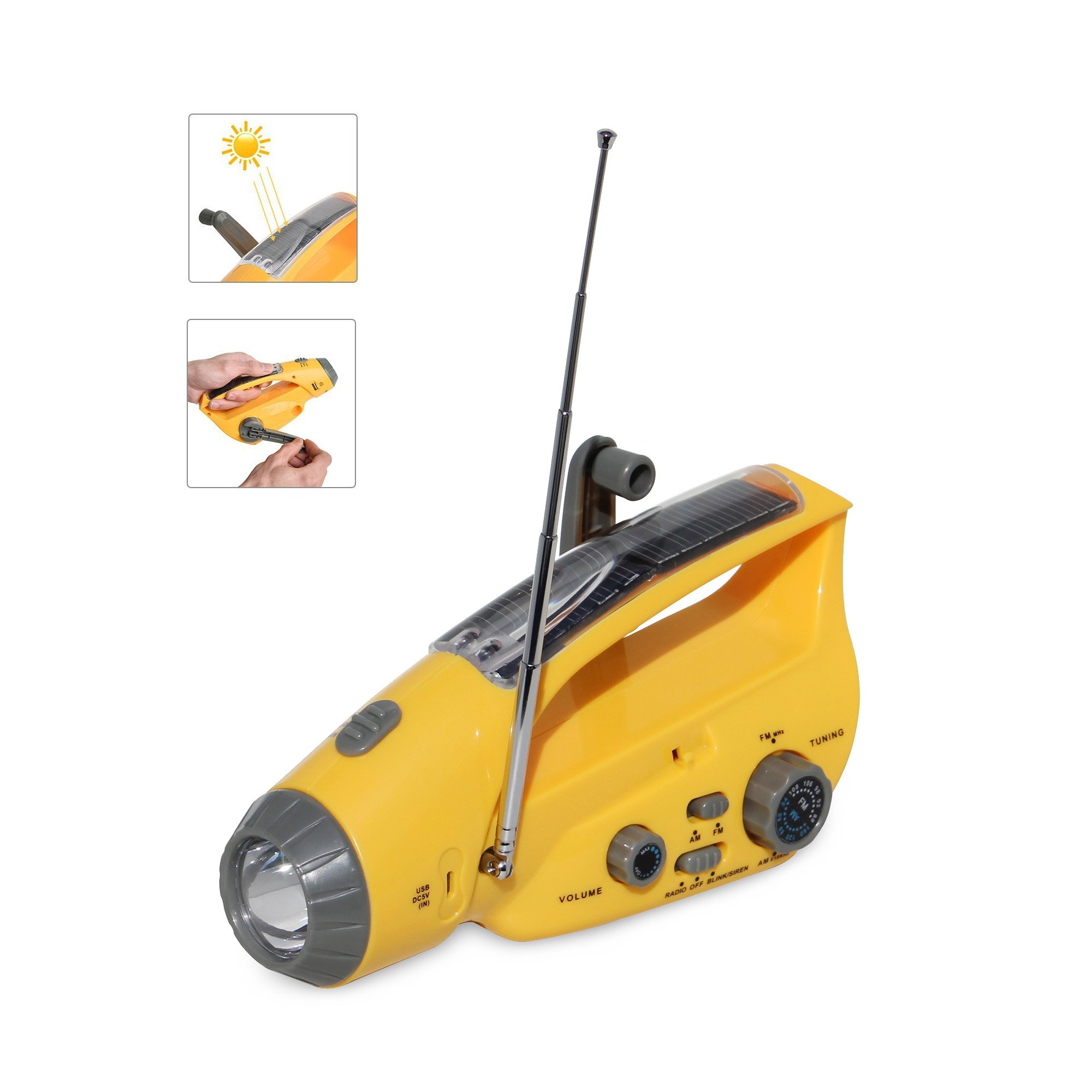 Dikley Solar Handcrank Emergency Radio Flashlight AM/FM Radio Siren and Blink Cell Phone Charger for Camping Outdoor Hiking Climbing