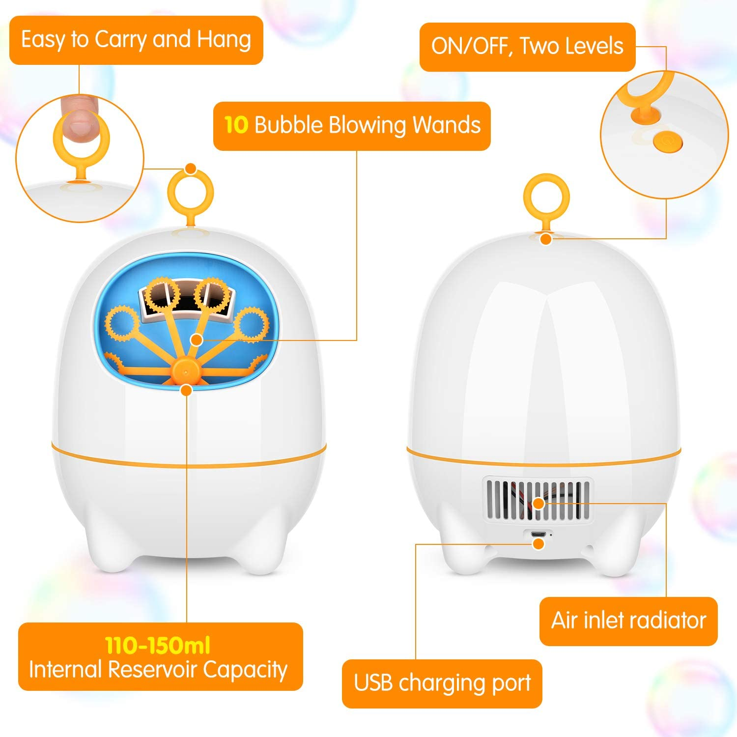 BATTOP Bubble Machine,Automatic Bubble Blower Machine for Kids with Bubbles Solutions and 2 Bubbles Blowing Speed Levels for Parties Outdoor /& Indoor,USB Charging,Simple /& Easy to Use