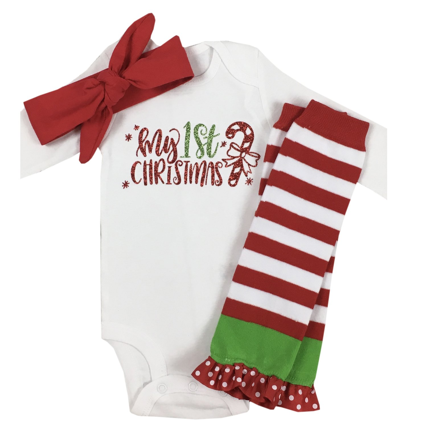 c11f795a0051 Amazon.com: Simply Swanky Baby Girl First Christmas Outfit My First  Christmas Baby Girl Christmas Clothes: Clothing