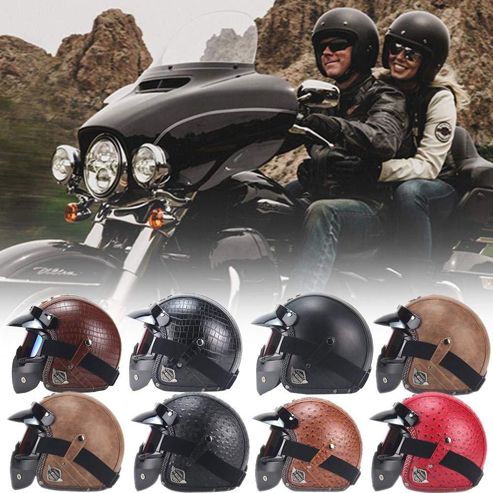 80cd819bebe30 StageOnline Casco de Motocicleta Harley en Cuero de PU Chopper Casco de  Motocicleta 3 4 Casco y Gafas de Moto Vintage  Amazon.es  Deportes y aire  libre