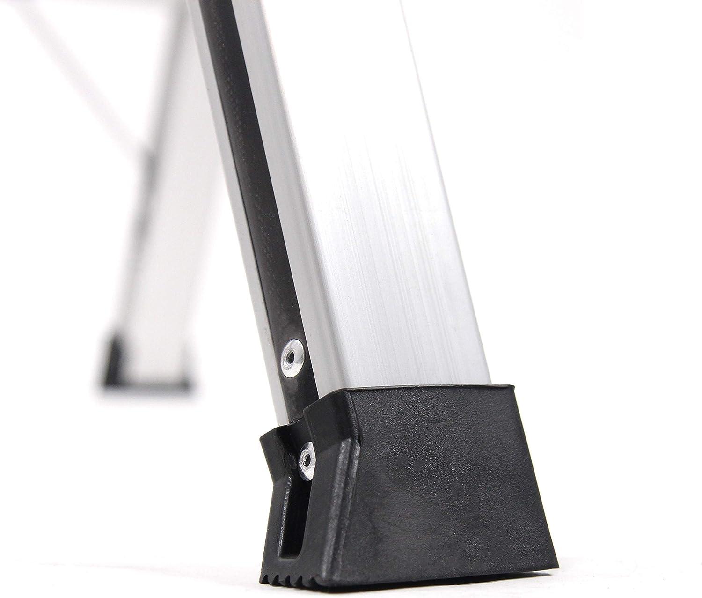 hjh OFFICE 830024 Trittleiter mit Rollen SOLID VI Aluminium Klappleiter mit 2 Stufen beidseitig begehbar bis 150kg belastbar
