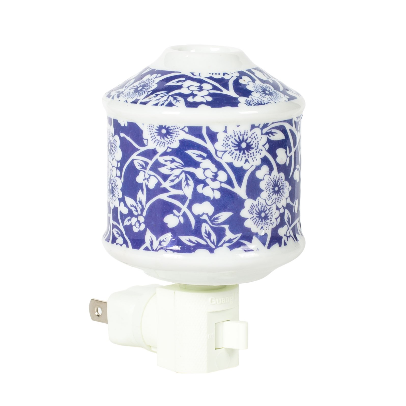 Blue Floral Vintage 2.5 x 4 Oil Diffusing Electric Wall Plug-In Night Light