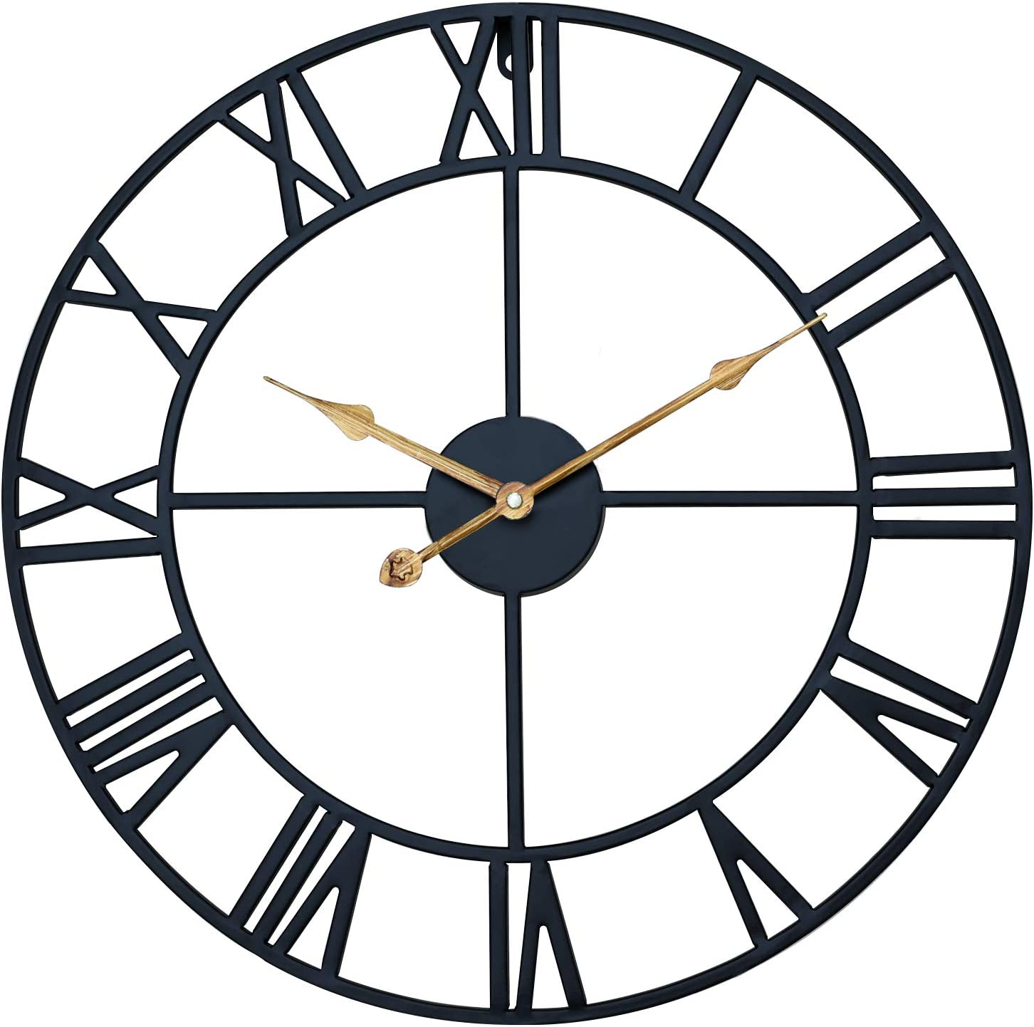 Shinedecor Decor Wall Clock 18 Inches, Quiet Large Metal Decorative Wall Clock with Roman Numerals for Any Room at Home, Office & School, Round, Battery Operated, Classic Matte Black and Antique Brass