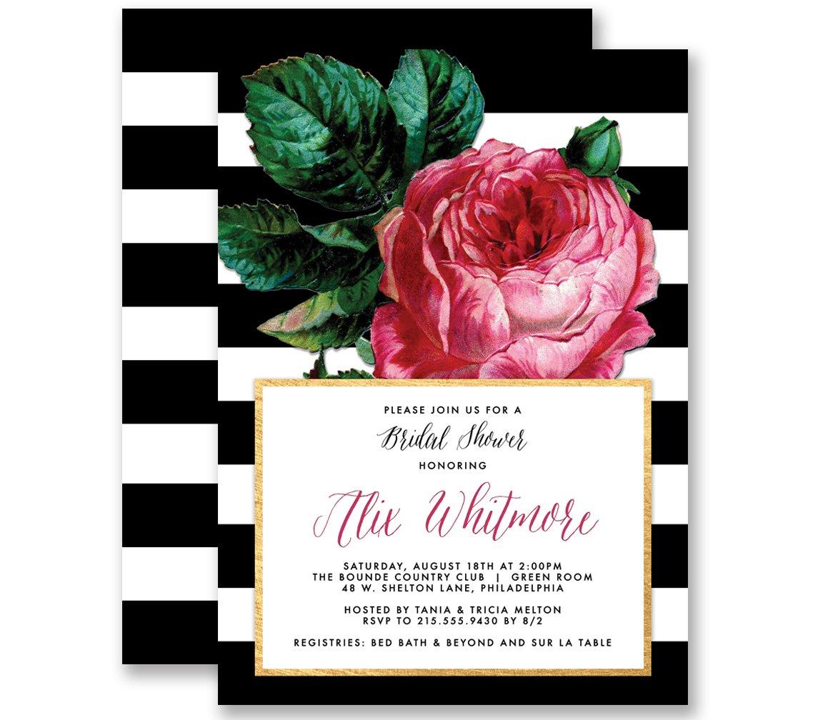 Vintage inspired set of 8 roses tea Bridal Shower invitations  with envelopes