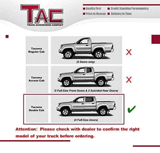 Amazon.com: TAC Side Steps for 2005-2017 Toyota Tacoma Double Cab Truck Pickup 4\