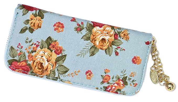 Unbekannt Pin Up Rosen Roses Allover Geldbeutel - Hellblau - Cartera para mujer azul claro Ancho