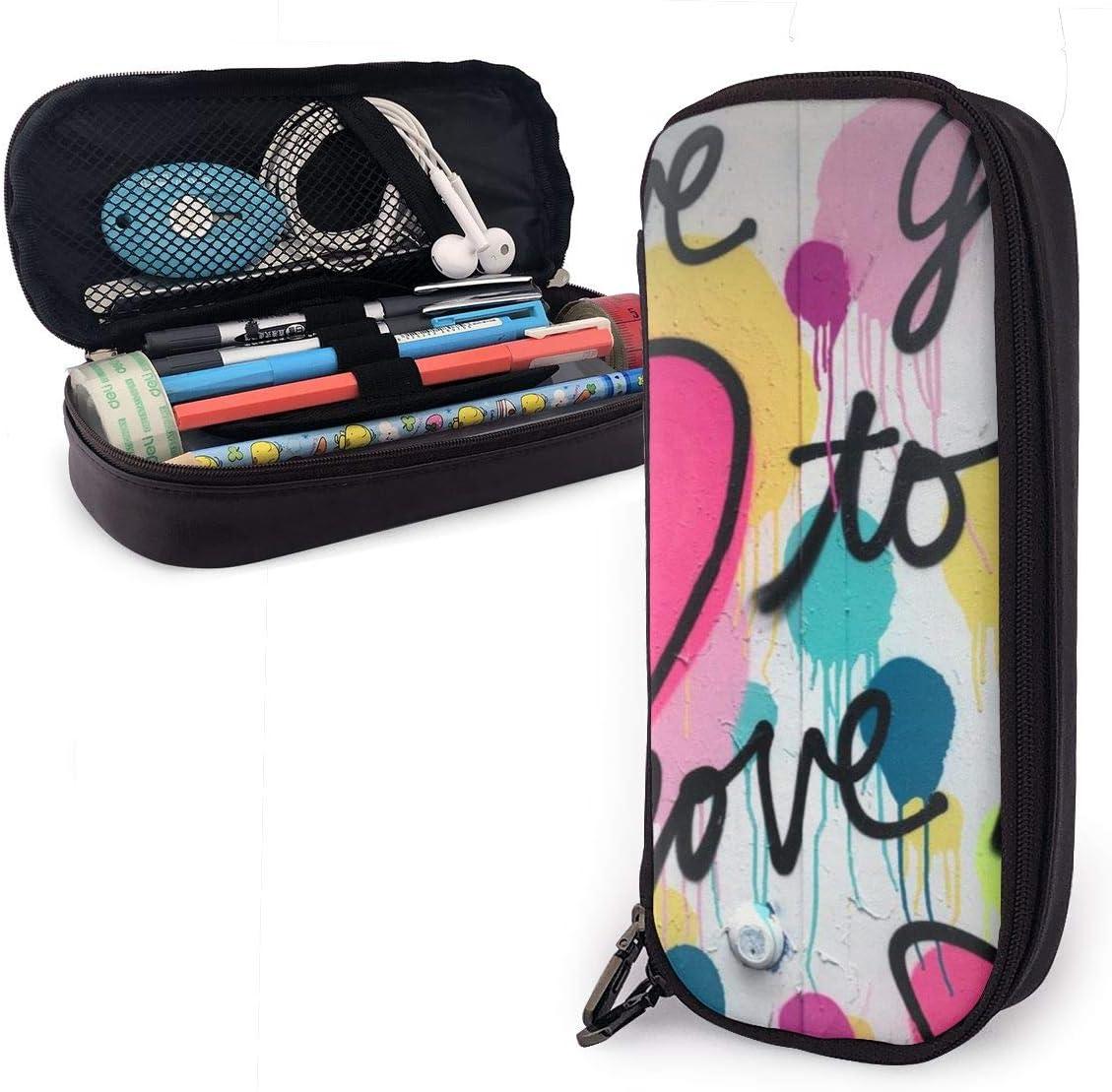 Estuche para lápices con diseño de reglas de amor para niños y niñas, tamaño grande, para estudiantes, universidades, suministros escolares y oficinas, color rosa: Amazon.es: Oficina y papelería