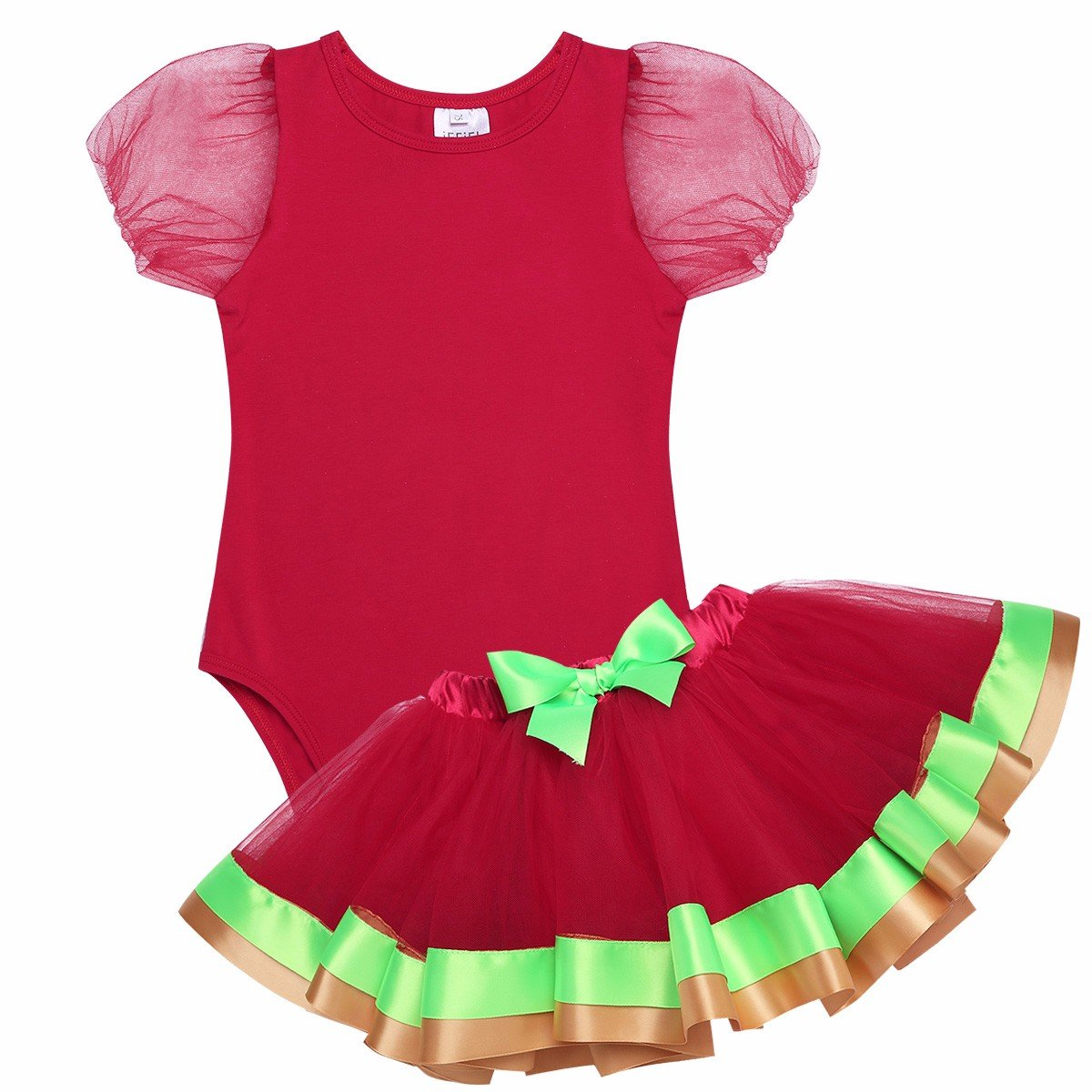 iEFiEL Infant Baby Girls Christmas Birthday Outfit Short Bubble Sleeves Bodysuit With Tutu Skirt Clothes Set